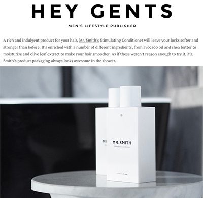 Hey Gents - Mr. Smith's Stimulating Conditioner featured in the Hey Gents article