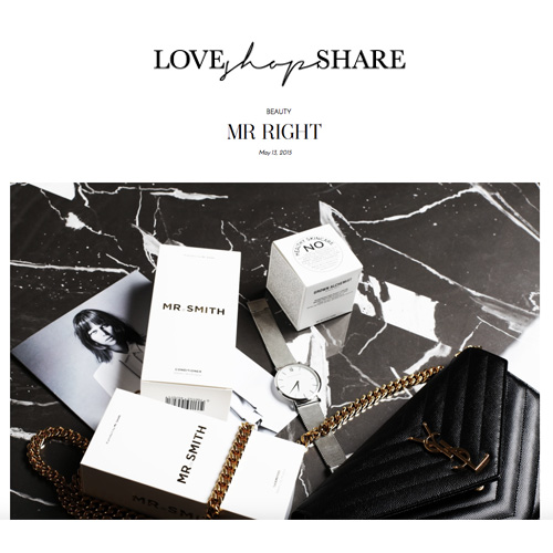Love Shop Share - Mr. Smith featured on Erin Maxwell's Blog loveshopshare.com as 'Mr. Right'<br />