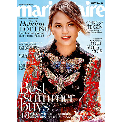 Marie Claire - Mr. Smith's Hairspray is included in the products required to create 'The Sleek Ponytail' as a part of Marie Claire's 'Cool Summer Hair' Article in their January 2018 Issue.